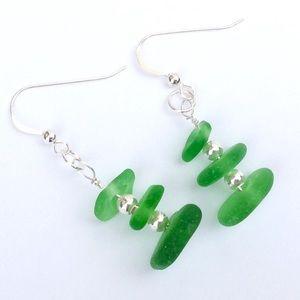Jewelry - SEAGLASS EARRINGS, Kelly Green-new